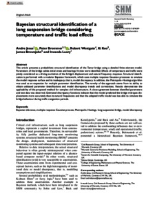 Bayesian structural identification of a long suspension bridge