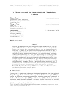 A direct approach for sparse quadratic discriminant analysis
