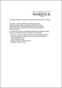 education and catch up in the industrial revolution wrap  abstract research increasingly