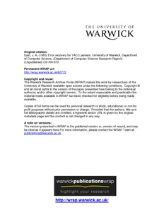 Error Recovery For Yacc Parsers Wrap Warwick Research Archive