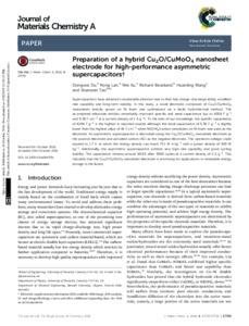 Preparation of a hybrid Cu2O/CuMoO4 nanosheet electrode for